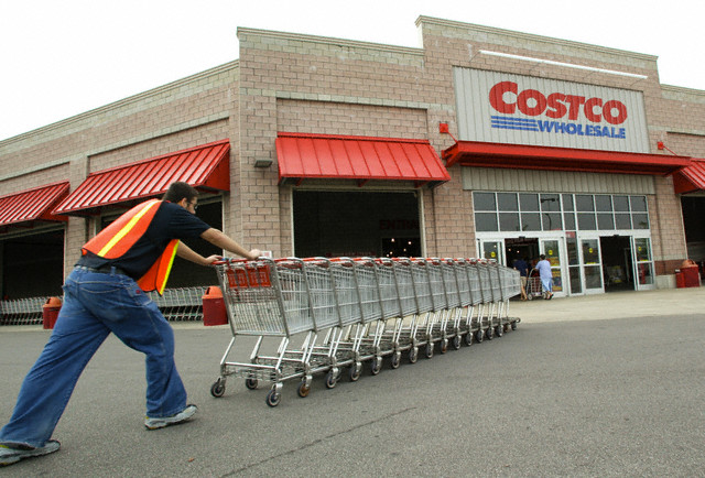 An exterior view of a Costco warehouse store in Chicago, Illinois