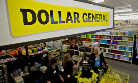 Shoppers check out at a Dollar General Corp. store in Creve Coeur, Illinois earlier this year.